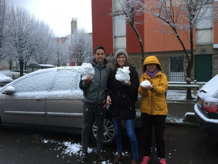Three ESRs looking very cold and holding snowballs.